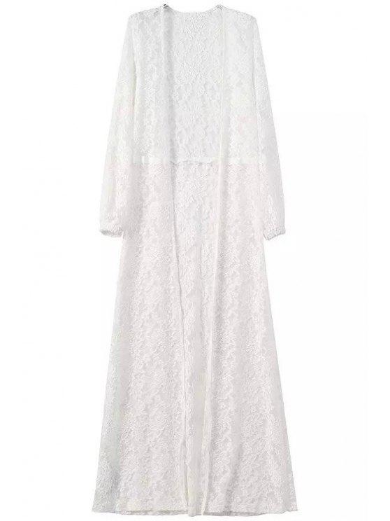 unique Lace See-Through Long Sleeve Maxi Blouse - WHITE S