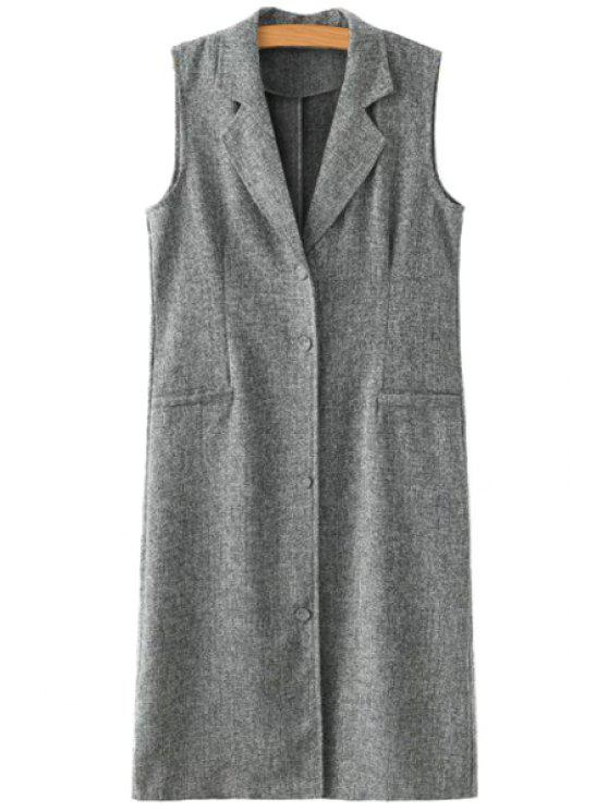 women Lapel Solid Color Back Slit Linen Waistcoat - GRAY M