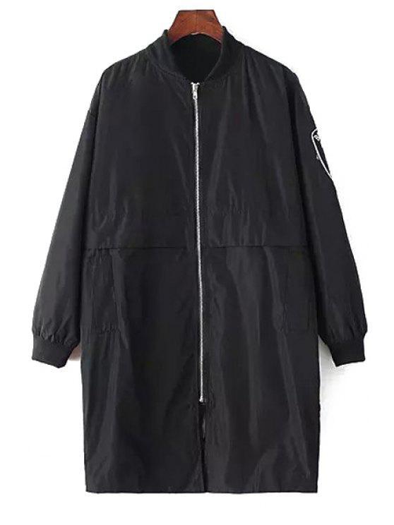 shops Applique Zipper Fly Long Sleeve Coat - BLACK M