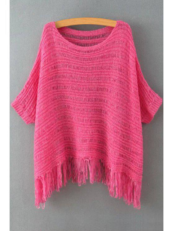 shop Solid Color Tassels Spliced Knitted Bat-Wing Sweater - ROSE ONE SIZE(FIT SIZE XS TO M)