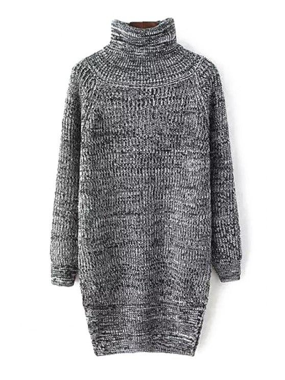 lady Turtle Neck Color Mixed Side Slit Sweater - BLACK AND GREY ONE SIZE(FIT SIZE XS TO M)