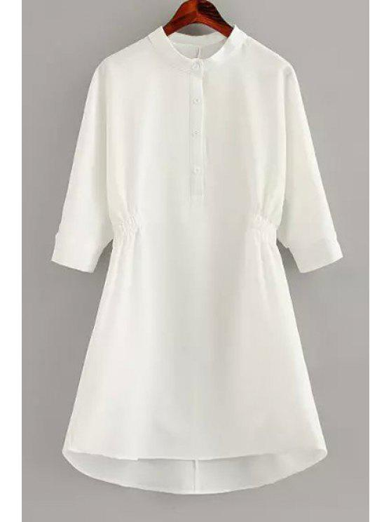 lady Round Neck Solid Color Ruffle Half Sleeve Dress - WHITE M