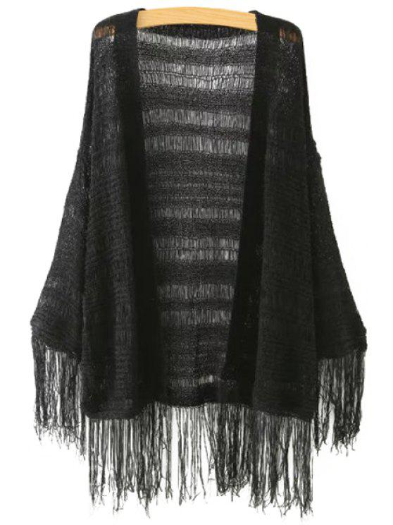 chic Solid Color Fringe Spliced See-Through Cardigan - BLACK ONE SIZE(FIT SIZE XS TO M)