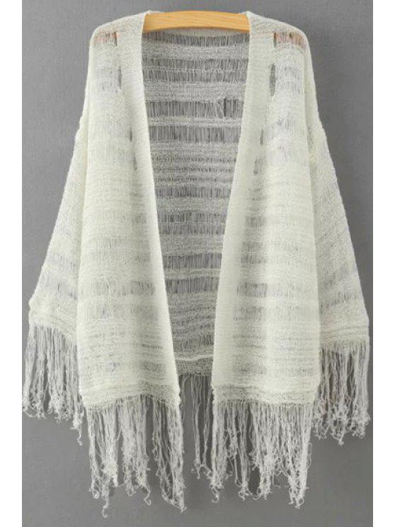 womens Solid Color Fringe Spliced See-Through Cardigan - OFF-WHITE ONE SIZE(FIT SIZE XS TO M)