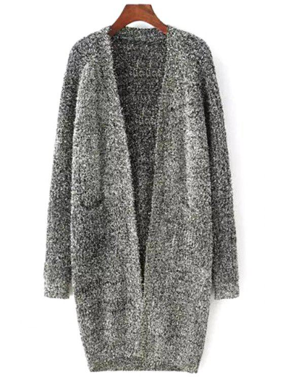 fashion Gray Collarless Long Sleeve Cardigan - GRAY ONE SIZE(FIT SIZE XS TO M)