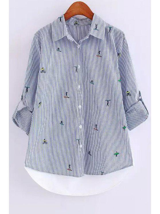 buy Figure Print Stripe Long Sleeve Shirt - AS THE PICTURE S