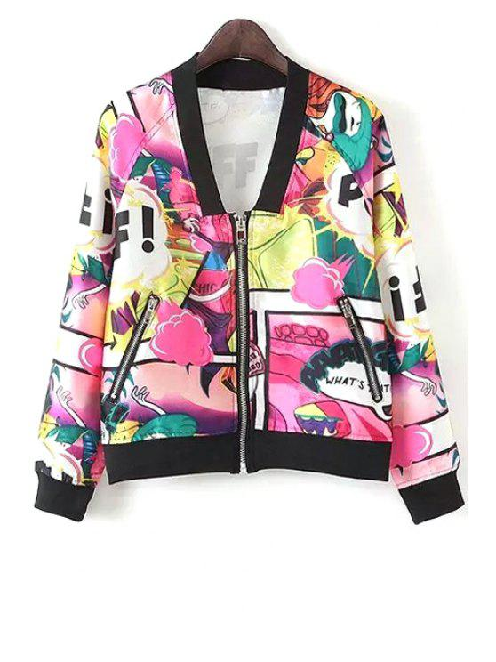 best Graffiti Print Zippered Baseball Jacket - COLORMIX S