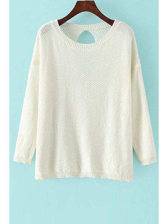 online Solid Color Backless Long Sleeve Sweater - OFF-WHITE ONE SIZE(FIT SIZE XS TO M)