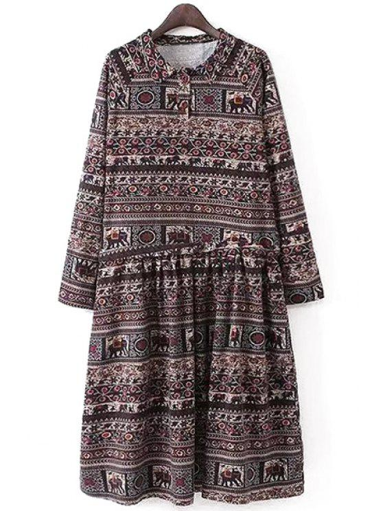 best Long Sleeve Ethnic Pattern Ruffled Midi Dress - COLORMIX S