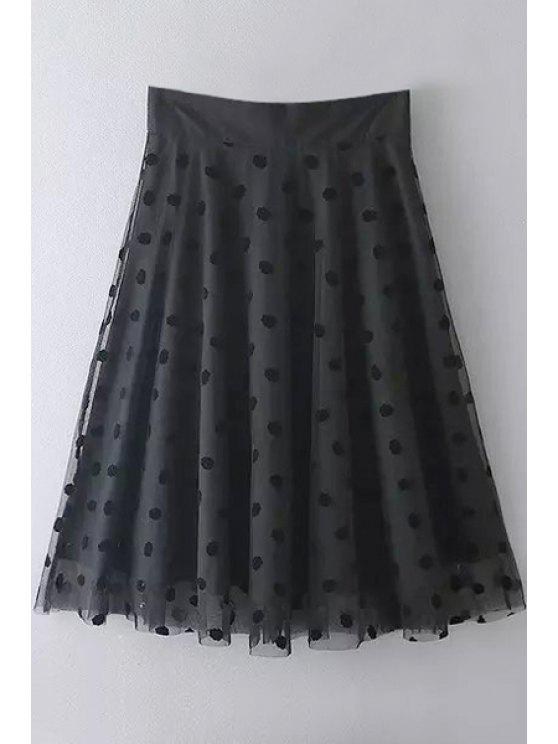 sale Black Mesh Spliced A Line Skirt - BLACK S