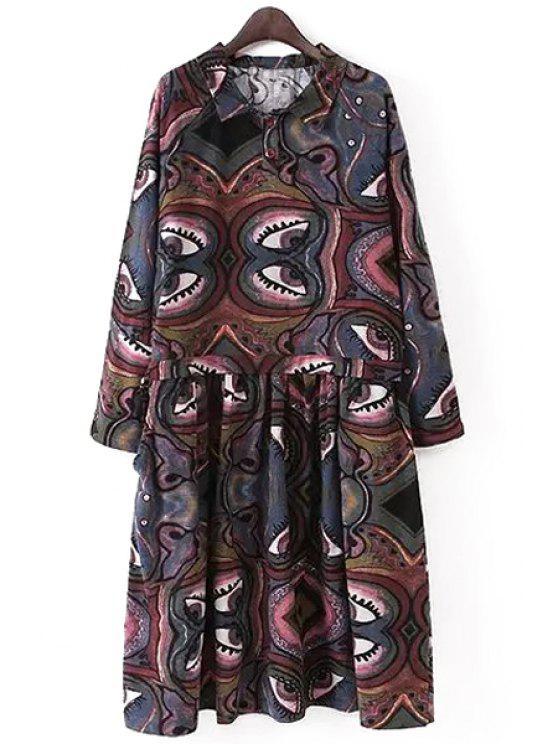 unique Long Sleeve A-Line Abstract Print Midi Dress - COLORMIX S