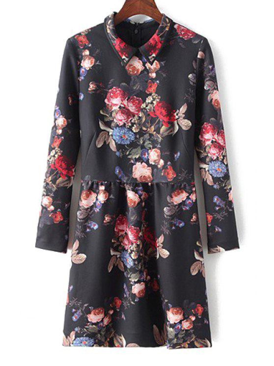 unique Turn-Down Collar Floral Print Long Sleeve Dress - BLACK S