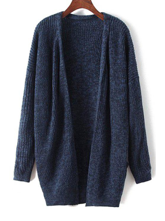 outfits Collarless Straight Long Sleeve Cardigan - BLUE ONE SIZE(FIT SIZE XS TO M)