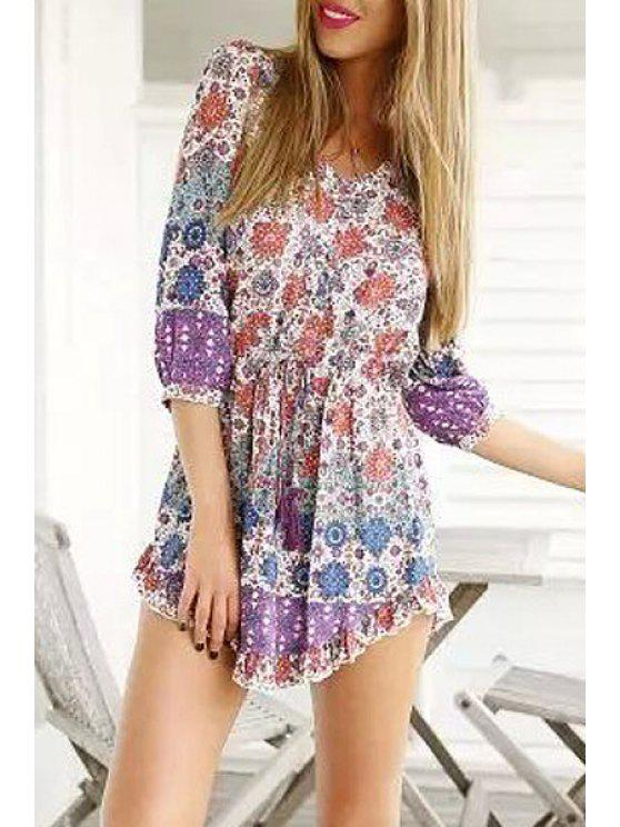buy Vintage Print Plunging Neck 3/4 Sleeve Playsuit - AS THE PICTURE S