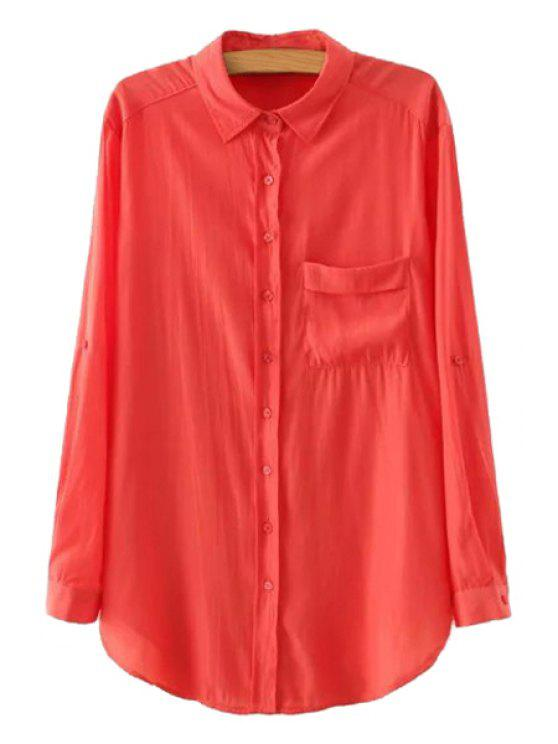 ladies Solid Color Single-Breasted Front Pocket Shirt - WATERMELON RED S