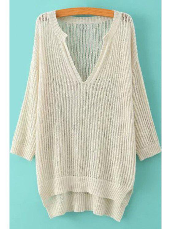 best Soild Color High-Low Hem Hollow Sweater - OFF-WHITE L