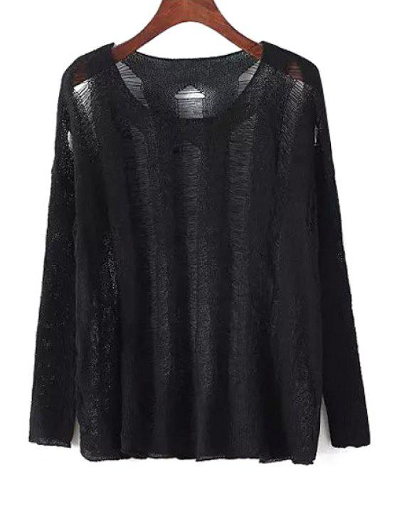 trendy Scoop Neck See-Through Openwork Sweater - BLACK ONE SIZE(FIT SIZE XS TO M)