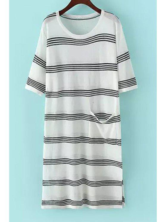 hot Jewel Neck Stripe Pocket Short Sleeve Dress - WHITE AND BLACK ONE SIZE(FIT SIZE XS TO M)