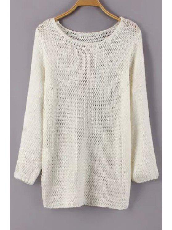 fancy Jewel Neck Mesh See-Through Sweater - WHITE ONE SIZE(FIT SIZE XS TO M)