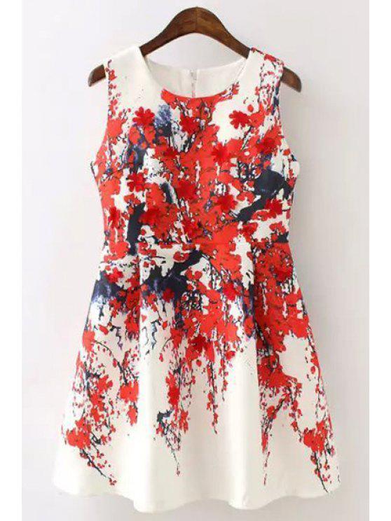 sale Plum Blossom Print Ruffled A-Line Dress - WHITE M