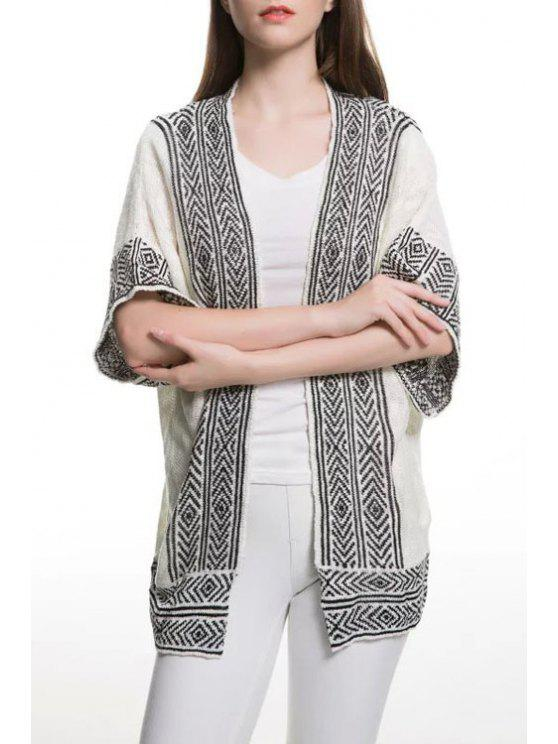 latest Stripe Argyle Pattern Short Sleeve Cardigan - WHITE AND BLACK S