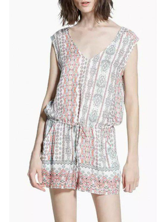 ladies Tie-Up Tiny Floral Print Sleeveless Romper - COLORMIX M