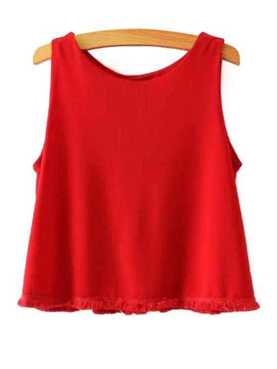 hot Solid Color Tassels Spliced Chiffon Tank Top - RED S