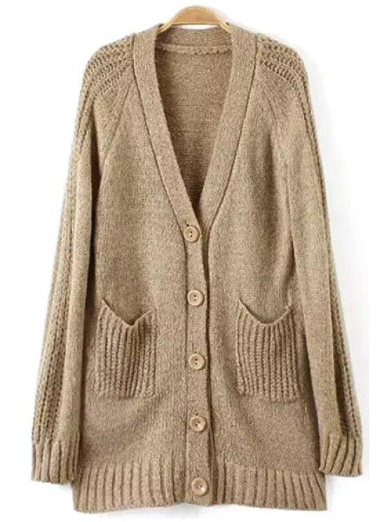 new Solid Color Single-Breasted Pocket Design Long Cardigan - KHAKI ONE SIZE(FIT SIZE XS TO M)