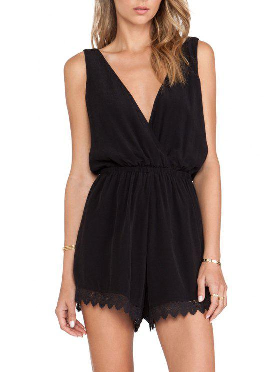 latest Plunging Neck Lace Spliced Playsuit - BLACK S