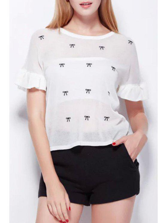 affordable Bowknot Embroidery Short Sleeve Sweater - WHITE ONE SIZE(FIT SIZE XS TO M)