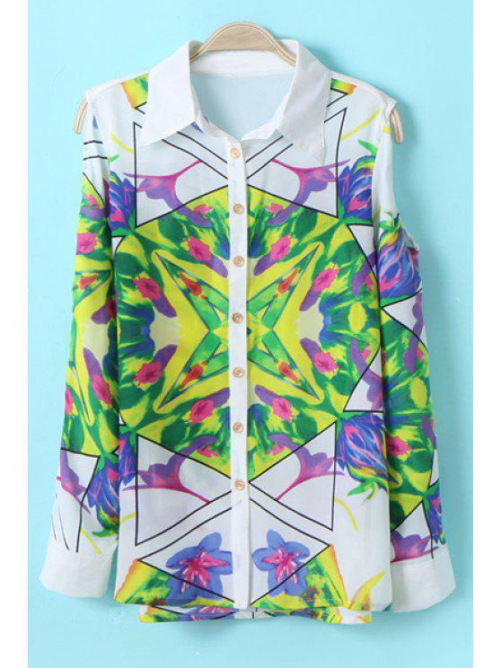 shop Turn-Down Collar Color Block Floral Print Shirt - COLORMIX S