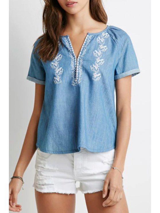 chic Embroidery V Neck Short Sleeve Blouse - BLUE S