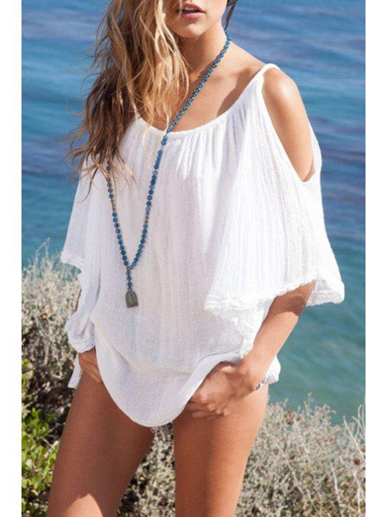 fancy White Spaghetti Strap Loose-Fitting Asymmetrical Blouse - WHITE ONE SIZE(FIT SIZE XS TO M)