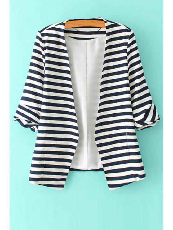 online Stripe Asymmetrical 3/4 Sleeve Blazer - WHITE S