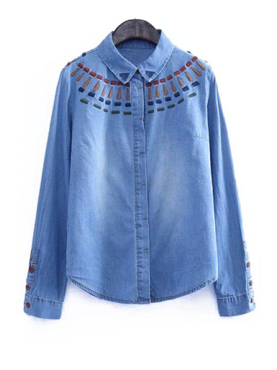 chic Colorful Embroidery Long Sleeve Shirt - BLUE S