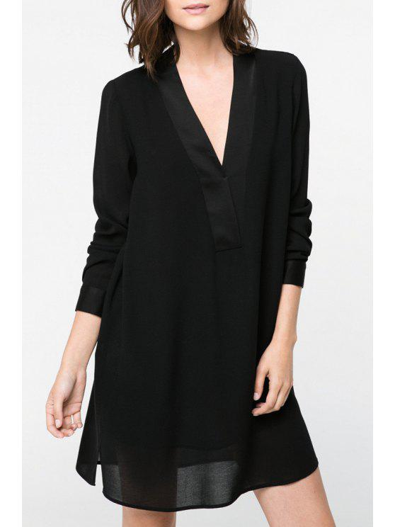 buy Long Sleeve Solid Color Straight Dress - BLACK S