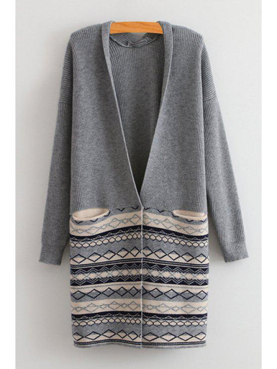 outfits Argyle Pattern Pocket Long Sleeve Cardigan - GRAY ONE SIZE(FIT SIZE XS TO M)