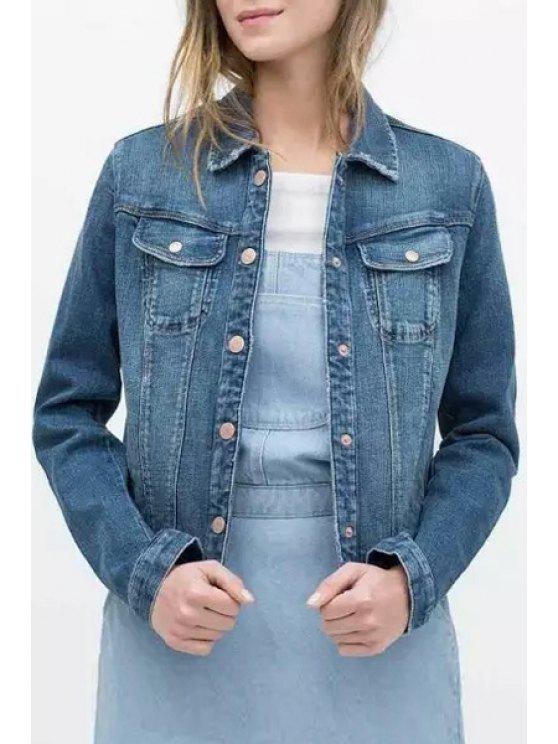 shops Single-Breasted Bleach Wash Denim Jacket - BLUE S