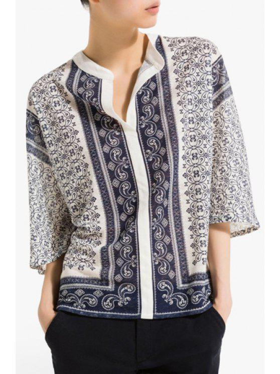 sale Blue and White Porcelain Loose-Fitting Blouse - BLUE AND WHITE S