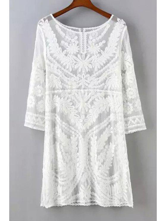 shop See-Through Leaves Pattern Lace Long Sleeve Dress - WHITE ONE SIZE(FIT SIZE XS TO M)