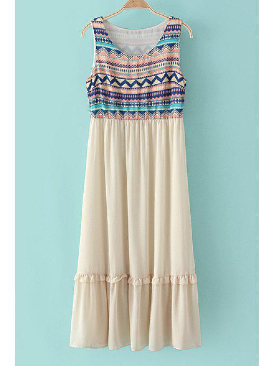 chic Colorful Zig Zag Print Sleeveless Dress - OFF-WHITE S