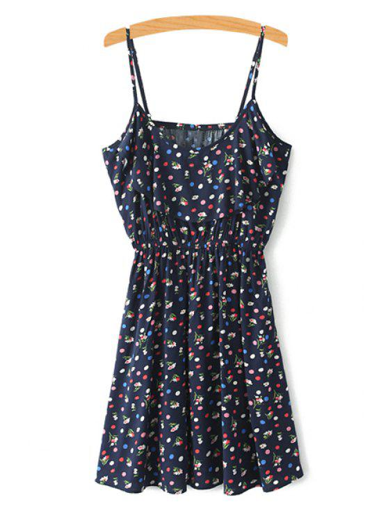 shop Spaghetti Strap Tiny Floral Printed Sleeveless Dress - COLORMIX XS