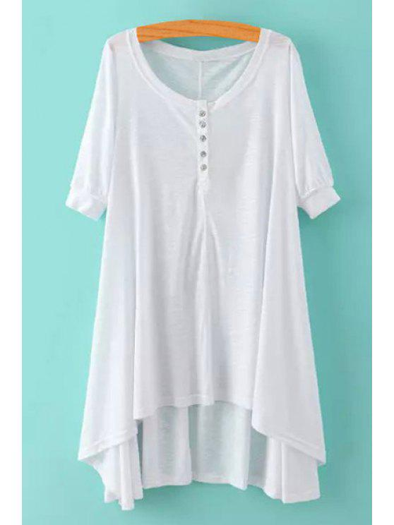 outfits High Low Scoop Neck Half Sleeve Dress - WHITE S
