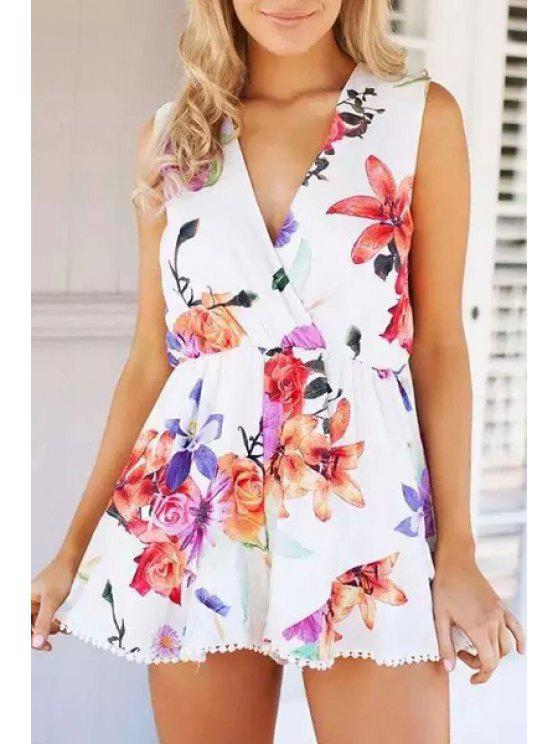 women's Floral Plunging Neck Sleeveless Playsuit - RED WITH WHITE L