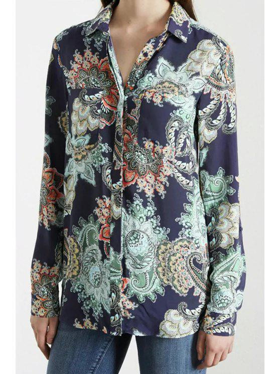 hot Long Sleeve Floral Print Single-Breasted Shirt - BLUE S