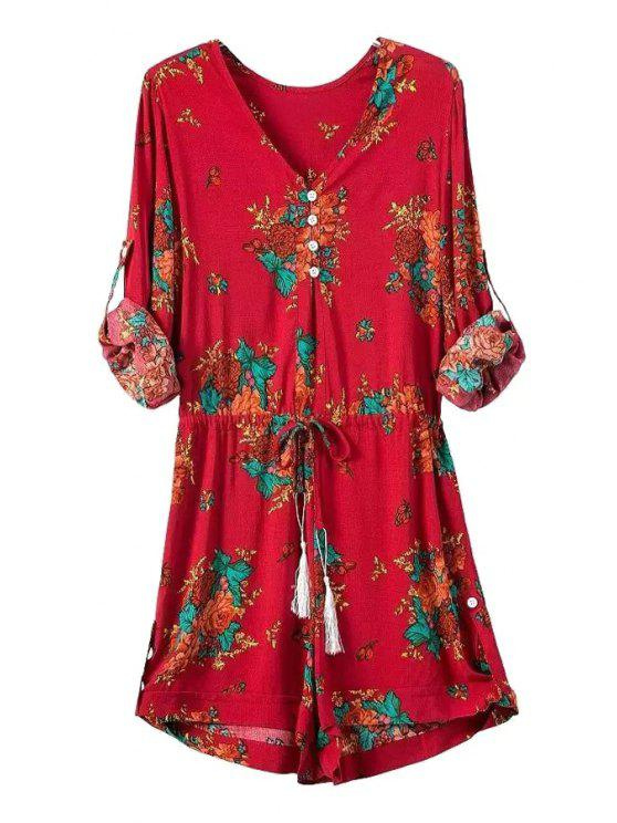 lady Floral Print V Neck Long Sleeve Playsuit - RED S