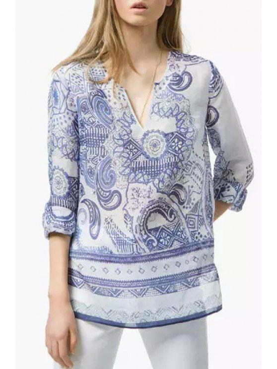 trendy Long Sleeve Printed Loose-Fitting Blouse - BLUE AND WHITE L