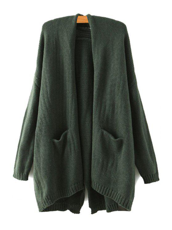 latest Loose Fitting Long Sleeve Cardigan - GREEN ONE SIZE(FIT SIZE XS TO M)