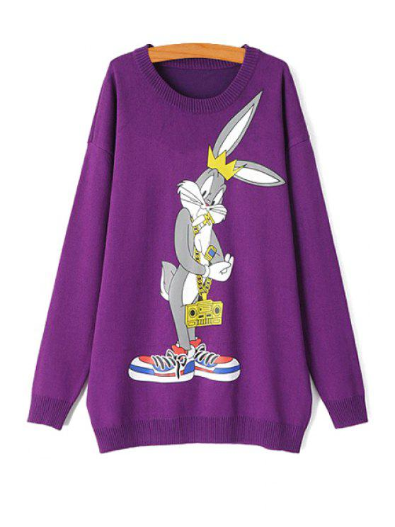chic Cartoon Rabbit Print Long Sleeve Sweater - PURPLE ONE SIZE(FIT SIZE XS TO M)