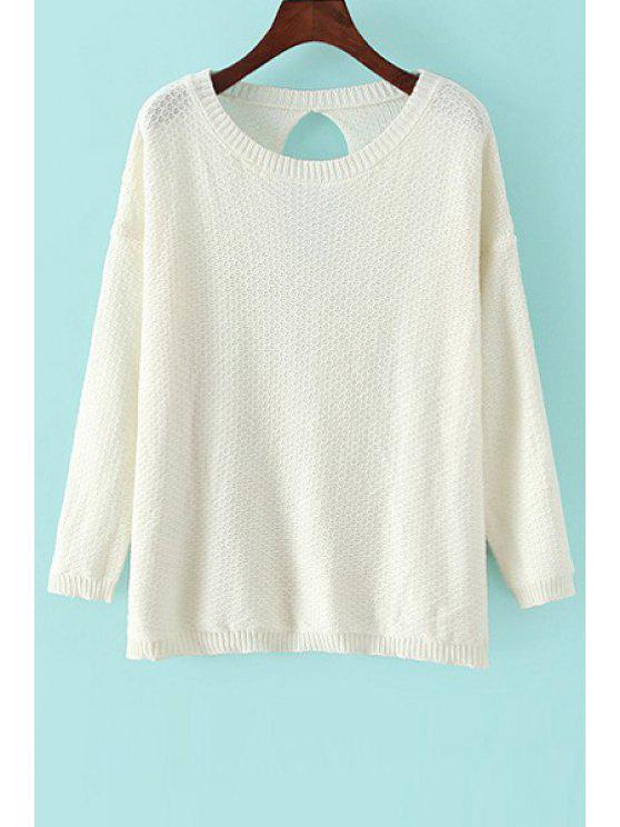 fancy White Scoop Neck Long Sleeve Sweater - CRYSTAL CREAM ONE SIZE(FIT SIZE XS TO M)